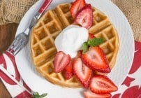 Waffles and Cream | Light and crisp dessert waffles served with whipped cream