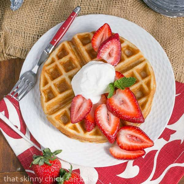 Waffles and Cream   Light and crisp dessert waffles served with whipped cream