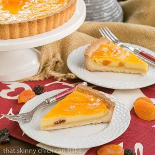 Apricot Glazed Cheesecake Tart | French Cheesecake with Dried Fruit and shortbread crust
