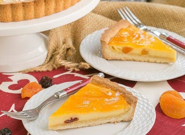Apricot Glazed Cheesecake Tart   French Cheesecake with Dried Fruit and shortbread crust