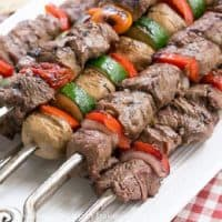 Beef Teriyaki Kabobs on a white platter