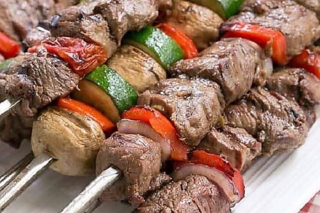 Beef Teriyaki Kabobs on a white platter