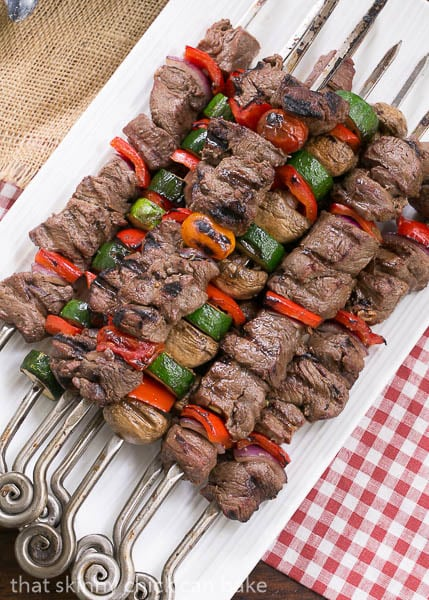 Beef Teriyaki Kabobs - Tender grilled beef and veggies flavored with an Asian marinade