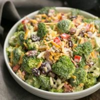Broccoli Salad with Bacon and Dried Cherries - Perfect for picnics and potlucks!