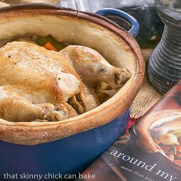 Chicken in a Pot in a blue Dutch oven