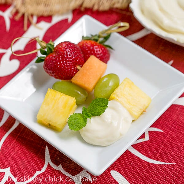 Fruit Kebabs with White Chocolate Mascarpone Dip | A dreamy dip to accompany fresh fruit