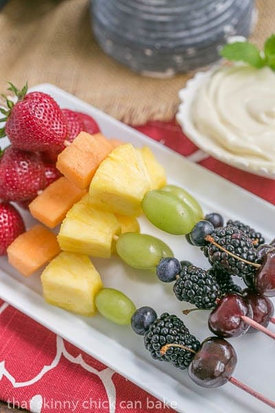 Fruit Kebabs with White Chocolate Mascarpone Dip   A dreamy dip to accompany fresh fruit
