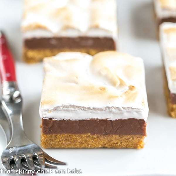 S'mores Fudge Bars | Graham cracker crust, fudgy center and marshmallow topping!