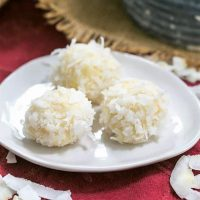 Coconut White Chocolate Truffles on an oval white plate