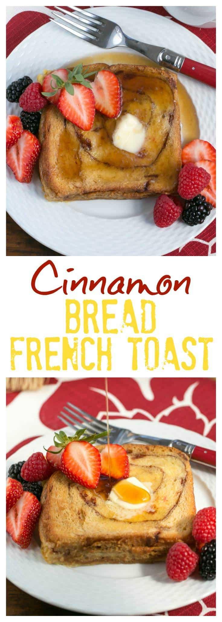 Overnight Cinnamon Bread French Toast - a scrumptious, make ahead brunch dish! #breakfast #brunch #frenchtoast #casserole