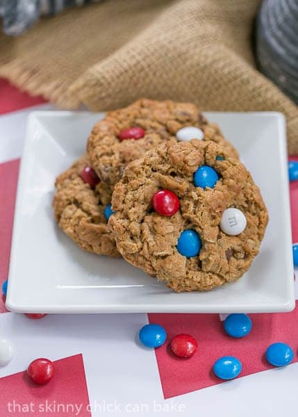 Patriotic Monster Cookies on a white square plate