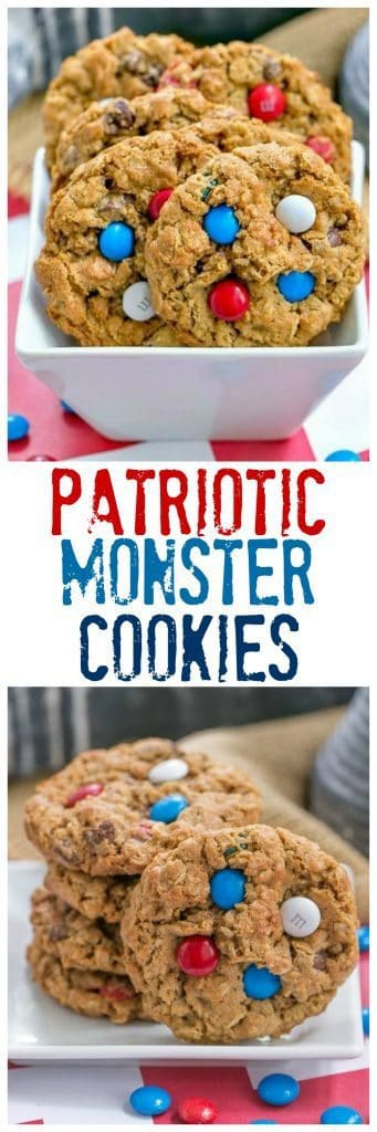 Patriotic Monster Cookies | Peanut butter oatmeal cookies chockful of M&M's and chocolate chips