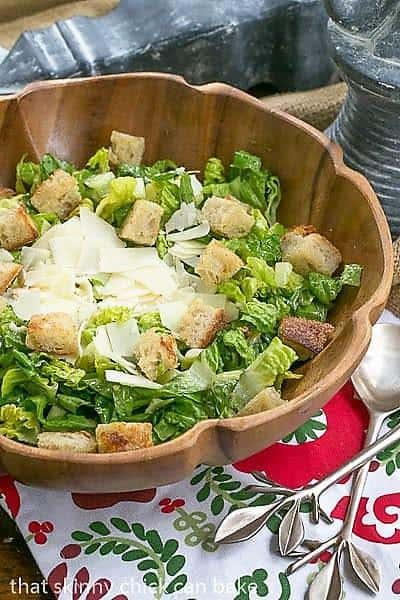 Perfect Caesar Salad in a wooden salad bowl