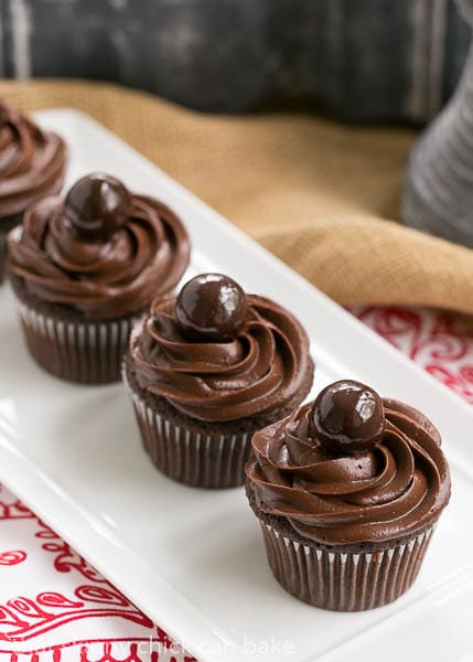 Perfect Chocolate Cupcakes - Terrific chocolate cupcakes with a swirl of decadent chocolate buttercream