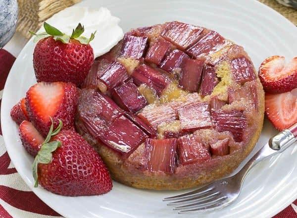Rhubarb Upside Down Brown Sugar Cake   A seasonal French cake featuring rhubarb