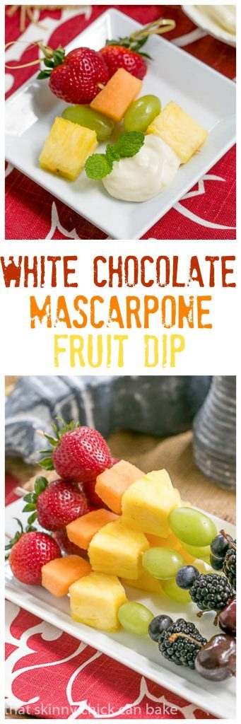 Fruit Kebabs with White Chocolate Mascarpone Dip - A dreamy dip to accompany vibrant fresh fruit kebabs #healthy #dessert #fruit #kebabs #whitechocolate