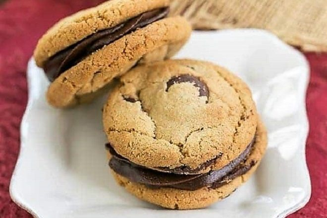 Chocolate Chip Sandwich Cookies on a white ceramic plate