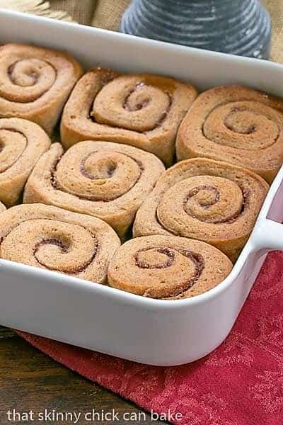 Cinnamon Sticky Buns in a white ceramic baking dish