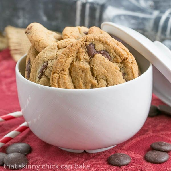 KAF Chocolate Chip Cookies in a white ceramic bowl