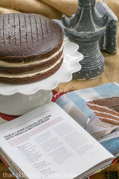 Triple Layer Chocolate Cake with Vanilla Buttercream | A decadent chocolate cake recipe from The Dairy Good Cookbook
