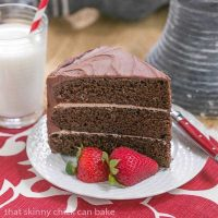 Triple Layer Chocolate Cake with Vanilla Buttercream | The perfect after dinner slice with a glass of cold milk!