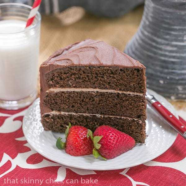 Triple Layer Chocolate Cake with Vanilla Buttercream -The perfect after dinner slice with a glass of cold milk!