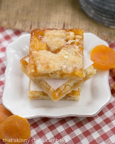 Coconut Apricot Bars with dried apricot garnishes on a small square plate