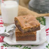 Brookies - An outrageously rich cookie bar with chocolate chip cookie dough baked over brownie batter!
