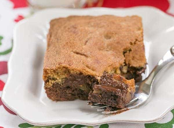 Brookies   An outrageously rich cookie bar with chocolate chip cookie dough baked over brownie batter!