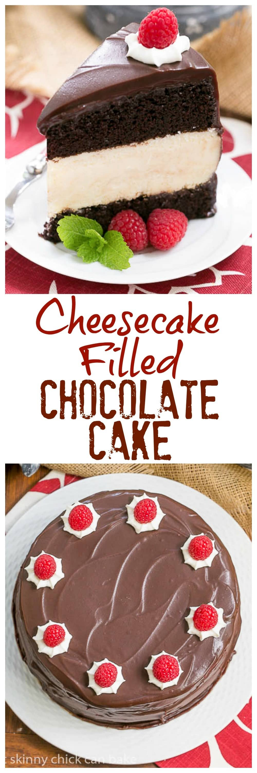 Moist buttermilk chocolate cake filled with a dreamy cheesecake and iced with fudge sauce #cake #chocolate #fudge #cheesecake