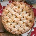 Classic Peach Pie | A flaky lattice crust topping sweet and juicy peach filling