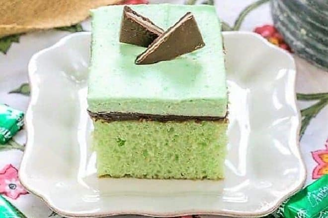 Slice of Creme de Menthe Cake on a white plate