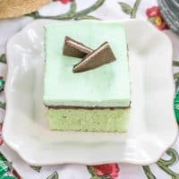 Creme de Menthe Cake - Mint infused cake topped with fudge and minty whipped cream