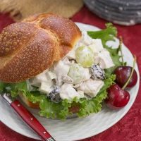 Fruity Chicken Salad - A Classic Chicken Salad jazzed up with dried cherries, grapes and pecans