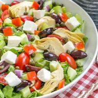 Mediterranean Chopped Salad in white serving bowl