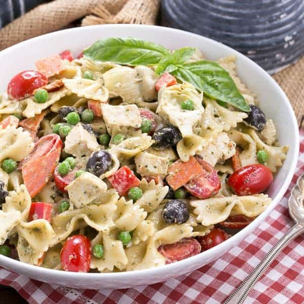 Pesto Pasta Salad  Pasta with a pesto dressing and so much more!