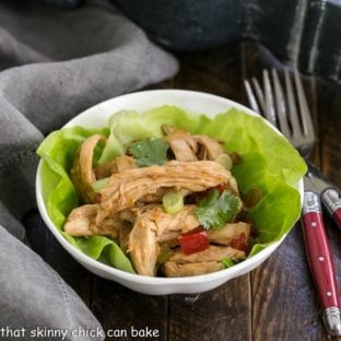 Shredded Chicken Lettuce Wraps in a small white bowl