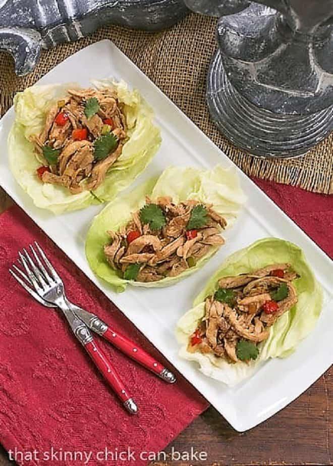 Shredded Chicken Lettuce Wraps on a serving platter