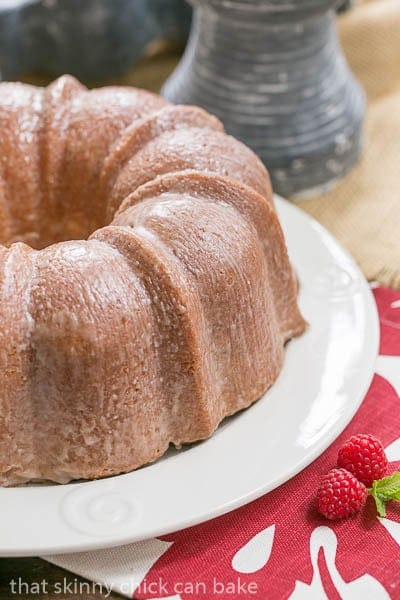 Sour Cream Pound Cake on a white cake plate