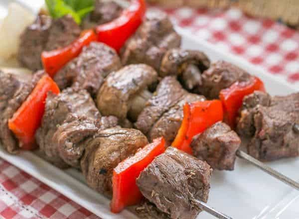 Tender Grilled Beef Steak Kabobs with a simple, flavor packed marinade