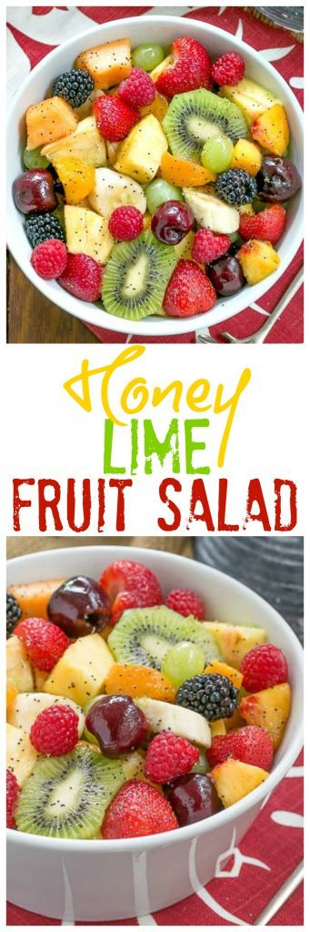 Honey Lime Fruit Salad | Scrumptious fresh fruit dressed with honey, lime juice, vanilla and poppy seeds