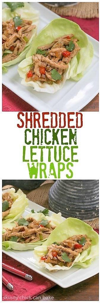Shredded Chicken Lettuce Wraps collage