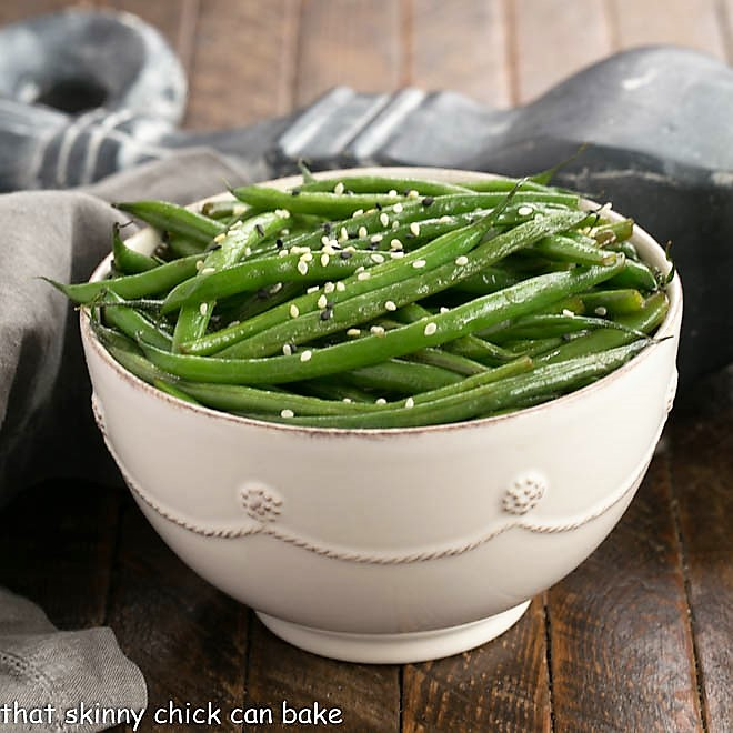 Asian Green Beans in a white ceramic bowl