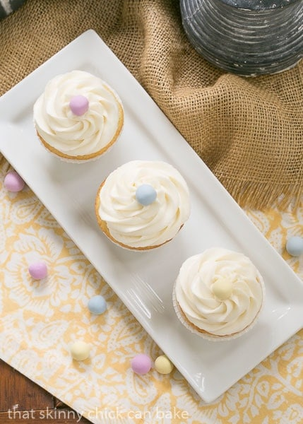 Overhead view of Buttercream Topped Vanilla Cupcakes
