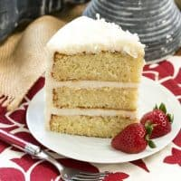 Italian Cream Cake | Three moist layers of coconut deliciousness with fluffy cream cheese icing