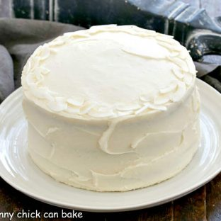 Coconut Cake on a white serving plate