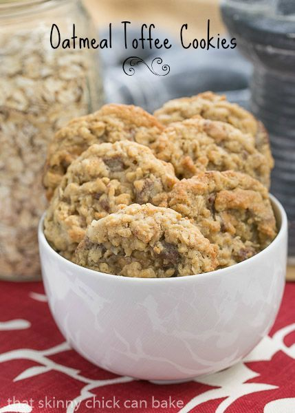 Chewy Oatmeal Toffee Cookies with a coconut bonus!