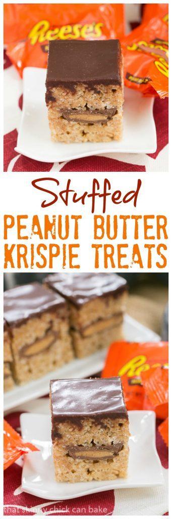 Stuffed Peanut Butter Rice Krispie Treats   A classic cereal treat stuffed with peanut butter cups!
