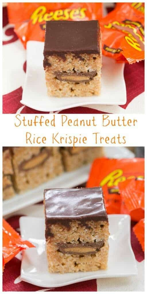 Stuffed Peanut Butter Rice Krispie Treats | A classic cereal treat stuffed with peanut butter cups!
