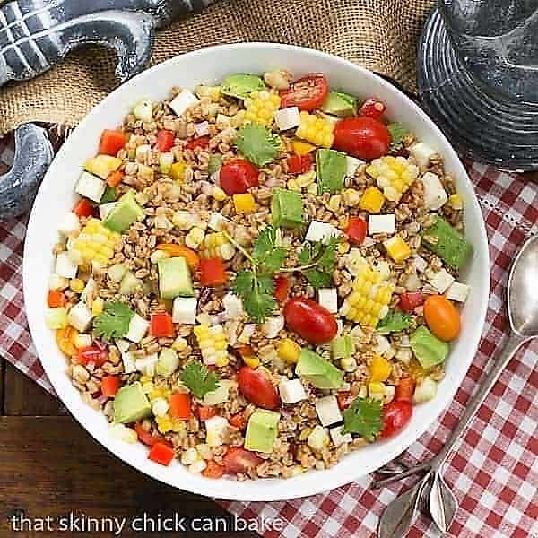 Summer Farro Salad in a white serving bowl from above